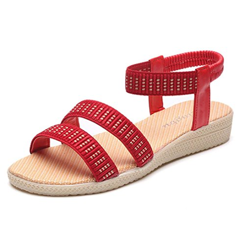 Transer Ladies Leisure Flat Sandals- Women Elasticity Bohemia Sandals Comfy Shoes Casual Red uH2hX