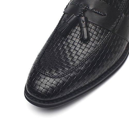 La Milano Mens In Pelle Geniune Bic Slip In Mocassino Con Dettagli In Tessuto Goffrato E Nappe Scarpe Casual Business Oxford Tassi-1-nero