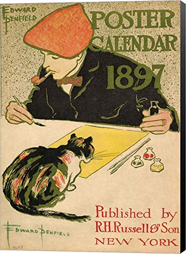 (R.H. Russell & Son Calendar, 1897 by Edward Penfield Canvas Art Wall Picture, Museum Wrapped with Black Sides, 9 x 12 inches)