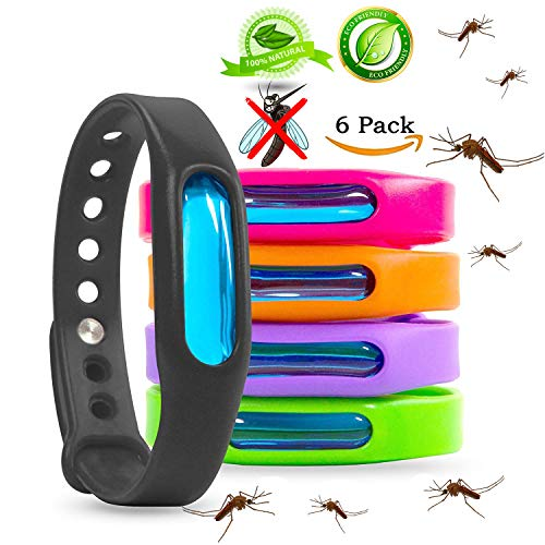 Insect Control Pest Natural (Mosquito Repellent Bracelets - Natural Deet Free - Waterproof Anti Mosquito Band - Bug & Insect Protection Wrist Bands for Adults & Kids, Perfect for Indoor Outdoor Travel Camping Hiking- 6 Pack)