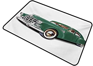 shirlyhome Doormat Dog Manly Humorous Personality Antique Automotive Old Model Nostalgia Historic Symbol Retro Car Illustration Rectangle 31 x 47 inch Forest Green White