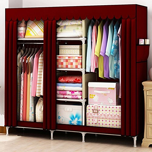 Steel Armoire (HHAiNi Super Large Bold Family Wardrobe, Portable Stainless Steel Sturdy Closet, Reinforced Freestanding Bedroom Armoire, Fully-enclosed Dustproof Garment, Wavy-edge Curtain Design Cover)