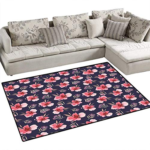 Watercolor Anti-Skid Rugs Nature Inspired Composition with Pink Garden Flora Vintage Artistic Petals Girls Rooms Kids Rooms Nursery Decor Mats 3'x5' Navy Blue ()