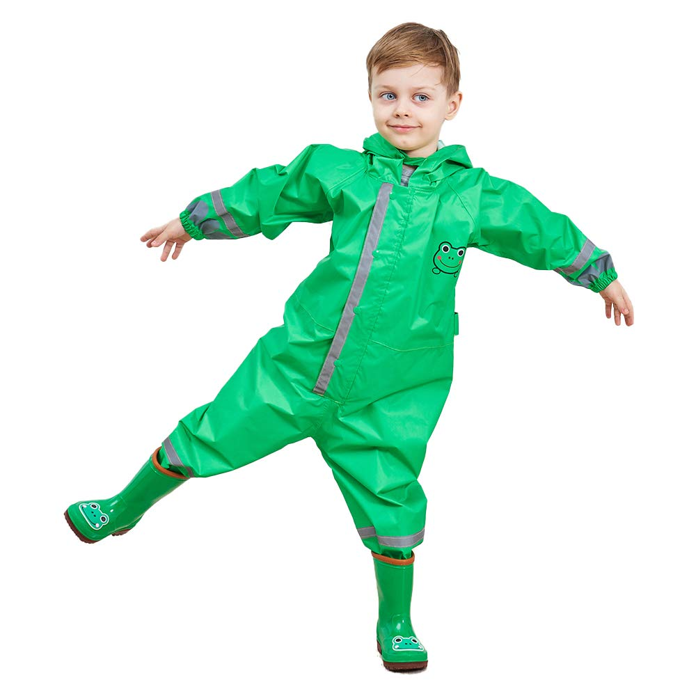 Spring Fever Toddler Kid Coverall Cartoon Reflective Hooded Rain Jacket Set Green S(Fit 35.4''-41.3'' Height)