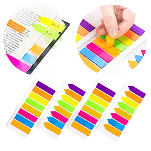 - PrettyFNT 4 Sets Neon Page Markers Colored Index Tabs, 8 Colors Sticky Flag Notes, Fluorescent Sticky Note for Page Marker, Total 640pcs (4)