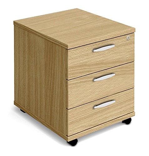 NOVA Aspire Low Mobile Under-Desk 3-Drawer Pedestal, OAK