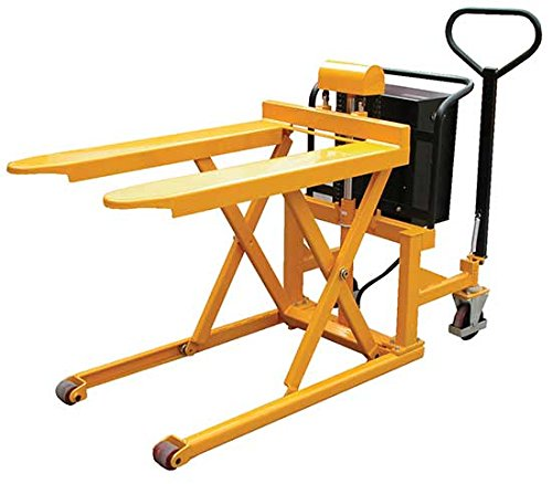 High Lift Pallet Jack - BTAL Series; Fork Size (W x L): 21'' x 43''; Capacity (lbs.): 2,200; Service Range: 3-1/2'' to 33''; Operation: 12V DC; Works With: Open-bottom Skids & Boxes by Beacon World Class Products