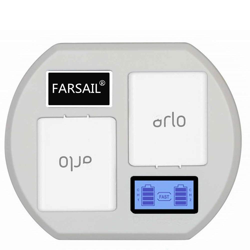 FARSAIL LCD Display Camera Battery Charger Station Compatible with Arlo Rechargable Batteries - Arlo Pro & Pro 2/VMA4400, Arlo Go/VMA4410, Arlo Light/ALS1101