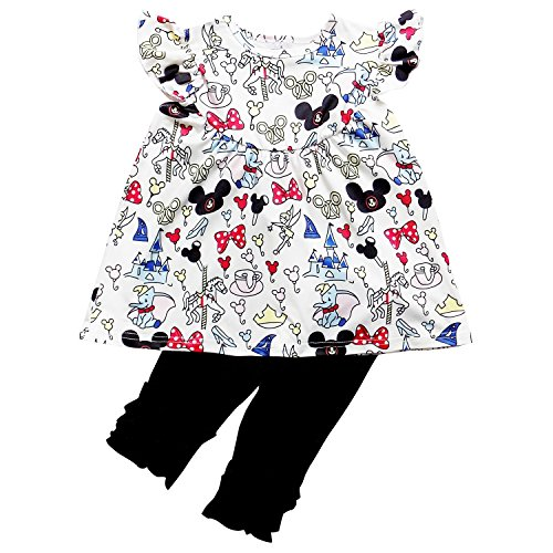 - So Sydney Girls Toddler Pink Minnie Mouse Boutique Outfit, Top & Capri Shorts (L (5), Mouse Ears Black)