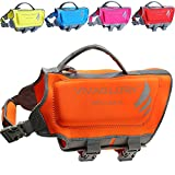 Vivaglory Pet Life Vest, Skin-friendly Neoprene Dog Safety Vest with Superior Buoyancy and Rescue Handle, Reflective, Orange, Medium