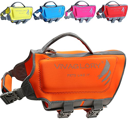 Vivaglory Pet Life Vest, Skin-Friendly Neoprene Dog Safety Vest with Superior Buoyancy and Rescue Handle, Reflective, Orange, Medium from Vivaglory