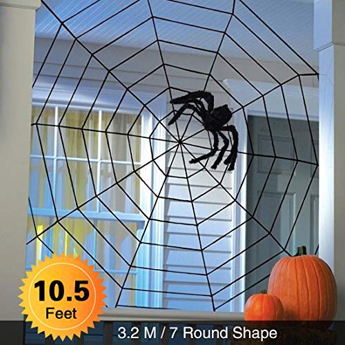 Huge Spider Web for Halloween Decoration Props Black Plush Stretch Cobweb Outdoor Yard Haunted House Party -