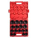 "Sunex 4683, 3/4 Inch Drive Heavy Duty Impact Socket Set, 17-Piece, SAE, 1""-2"", Cr-Mo Alloy Steel, Radius Corner Design, Dual Size Markings, Heavy Duty Storage Case"