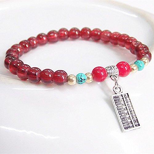Korean abacus imitation Tibetan silver garnet bracelet lap wild bracelet alloy bracelet turquoise beads fall