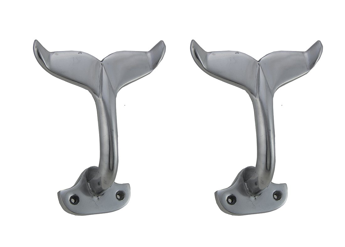 Zeckos Aluminum Decorative Wall Hooks Set of 2 Polished Silver Finish Aluminum Whale Tail Wall Hooks 6 X 7.5 X 3.25 Inches Silver