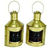 Antique Brass Finish Port & Starboard Ship's Lanterns