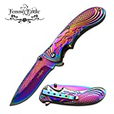 New SPRING ASSIST FOLDING POCKET ProTactical Limited Edition Elite Knife | Femme Fatale Women Girl Rainbow FF-A008RB