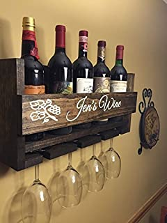 pallet wine glass rack. Exellent Pallet Custom Name Personalized Wine Rack Engraved Carved Rustic 4 Bottle  Wall Mount With And Pallet Glass