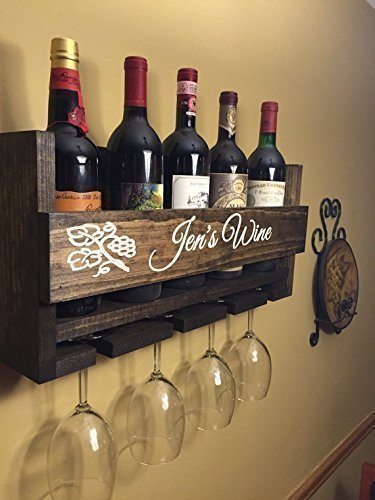 Custom Name Personalized Wine Rack Engraved Carved Custom Rustic 4 Bottle Wall Mount Wine Rack with 4 Glass Slot Holder, Wall Decor, Primitive, Handmade, Vintage