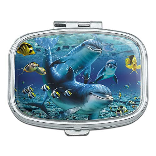 Coral Reef Diving Dolphin Pals Diving Rectangle Pill Case Trinket Gift Box