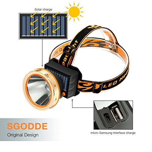 (Solar Rechargeable LED Headlamp with Power Bank,SGODDE Super Bright 3 Modes Waterproof Head torch Headlight,Adjustable Elastic Headband for Outdoor Hiking Camping Fishing Cycling Running)