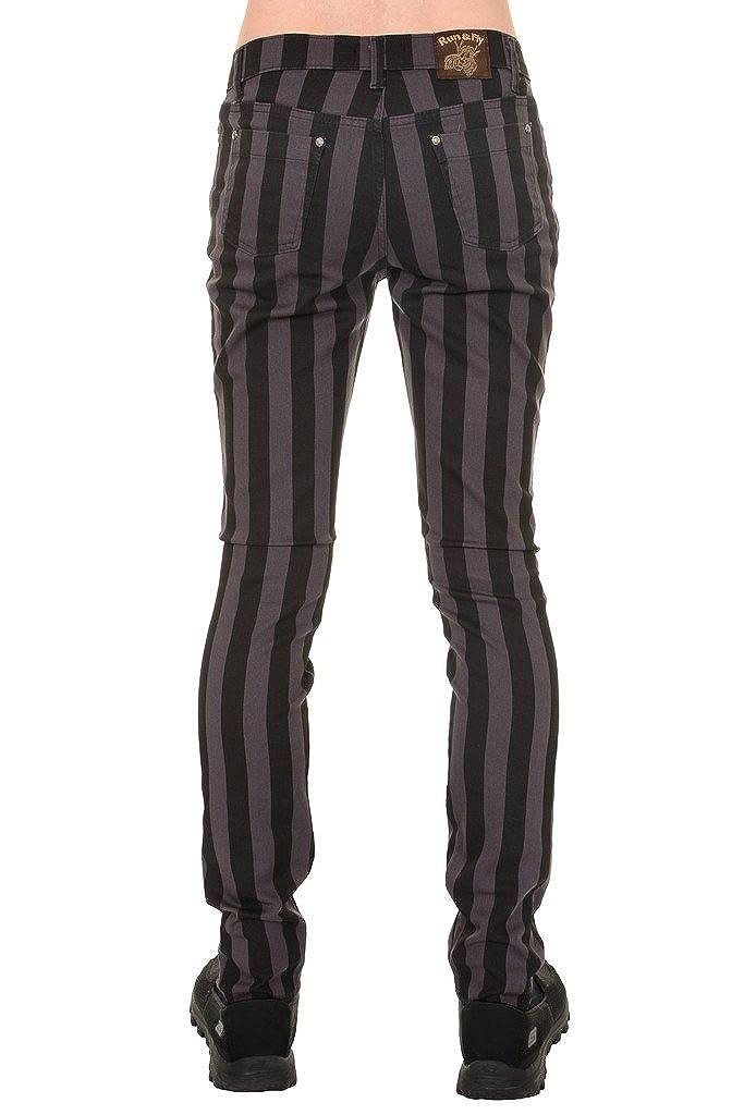 Mens Indie Vintage Retro 60s 70s Mod Black Grey Striped Stretch