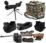 25-75x75 Sniper Spotter Hunting Rubber Armored Spotting Scope + Tripod + Shade + QD Shooting Rifle Shotgun & Muzzle Loader Steady Shooter Support Bag Set + ACU Camo Range Bag w/ Magazine Ammo Pouches