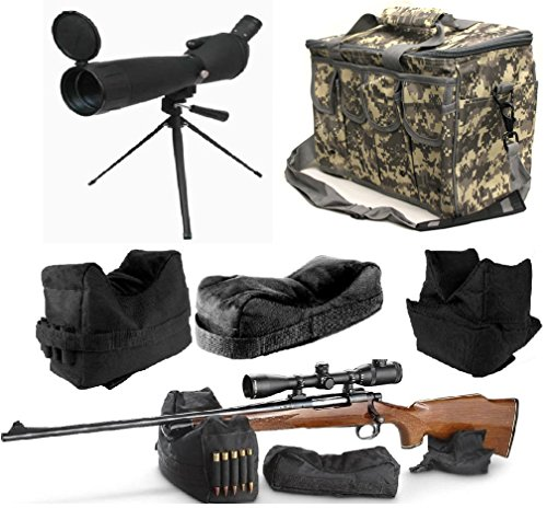 25-75x75 Sniper Spotter Hunting Rubber Armored Spotting Scope + Tripod + Shade + QD Shooting Rifle Shotgun & Muzzle Loader Steady Shooter Support Bag Set + ACU Camo Range Bag w/ Magazine Ammo Pouches by Ultimate Arms Gear