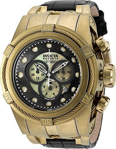 Invicta Mens Reserve Bolt Zeus Swiss MOP Gold Dial 18KT GP Leather Strap Watch 18458 by Invicta