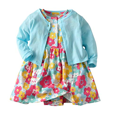 Baby Girls Dress Set Long Sleeve Coat+Floral Toddler Romper Dresses 2Pcs Baby Girl Set Outfit Clothes (Flower Style 1, 18 Months) ()