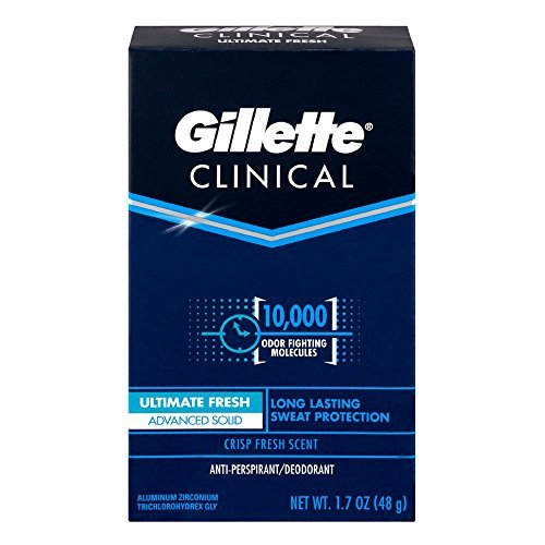 Gillette Clinical Anti-Perspirant Deodorant, Ultimate Fresh Advanced Solid 1.70 oz (Pack of 6)