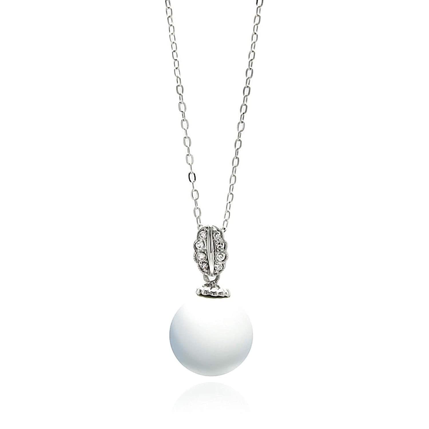 Aienid Brass Cubic Zirconia Pearl Leaf Pendant Necklace for Women 16-18 Inch Adjustable