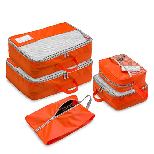 LIM 5 pcs packing cubes with travel planner card,travel organizer with shoe bag and toiletry bag (Orange)