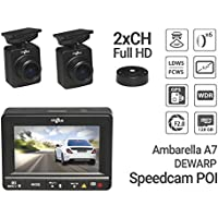 Gazer F225 Dual Channel Full HD Car DVR Dash Cam with 1080p Front and Rear Cameras/160° Wide Angle Lens/128GB microSD Capacity/Ambarella A7/ G-sensor/Speed Cam/LDWS+FCWS/DEWARP
