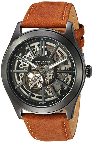 Kenneth Cole New York Men's ' Automatic Stainless Steel and Leather Dress Watch, Color:Beige (Model: 10030817) (Watch Kenneth Men Skeleton Cole)