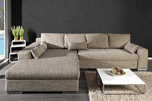 Design Wohnlandschaft Vincenza Cappuccino Strukturstoff Mit