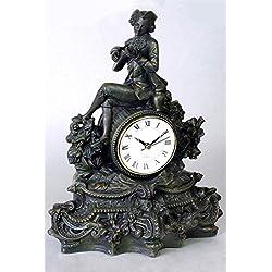 Colonial Antique Bronze 9 1/2 Wide Desk Clock