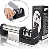 ColorLifeOfficial Professional Knife sharpener for for Straight and Serrated Knives, 2 Stage Tungsten Steel with Ceramic Rod Sharpening Wheel System, Non-slip Base, Black.