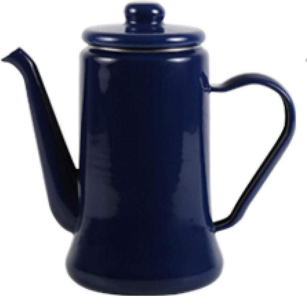 Juego de t/é Tetera Hervidor esmaltado Hervidor esmaltado Ese esmalte boca fina Mano Cafetera Agua fr/ía Hogar Espesante Tetera para vino Hervidor 1 1 litro Cocina # Azul oscuro-blanco