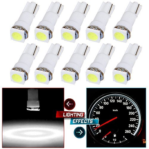 CCIYU 10 Pack Xenon White Car T5 5050 1SMD Wedge LED Light Bulbs 74 17 18 37 70 73 2721 For side markers, running lights, corner & bumper lights, license plate lights, instrument cluster (Santa Bumper Fe Hyundai 2004)