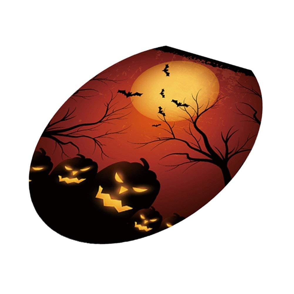 Yevison Halloween Pumpkin Witch Bat Toilet Lid Sticker Decorative Decal Bathroom Decor 2 Durable and Useful