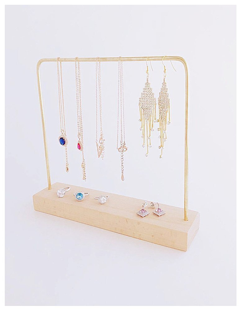 Modern Brass Elegant Jewelry Display Stand Organizer Unique Exhibition Natural Pinewood Base Fine Show Photo Gallery Store Home Use (1-Bar)