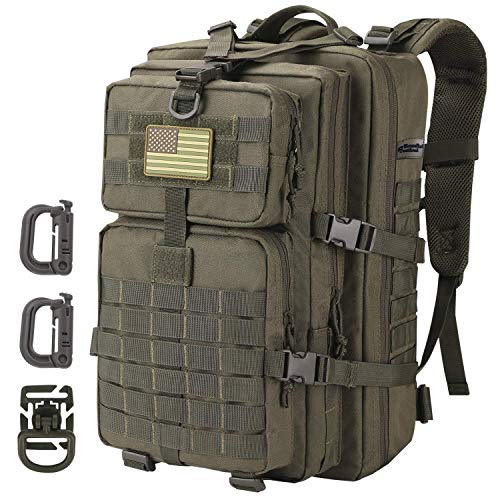 Hannibal Tactical 36L MOLLE Assault Pack, Tactical Backpack Military Army Camping Rucksack, 3-Day Pack Trip w/USA Flag Patch, D-Rings, Army Olive Green
