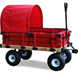 Millside Industries Classic Wooden Wagon with Half Canopy and Pad Set