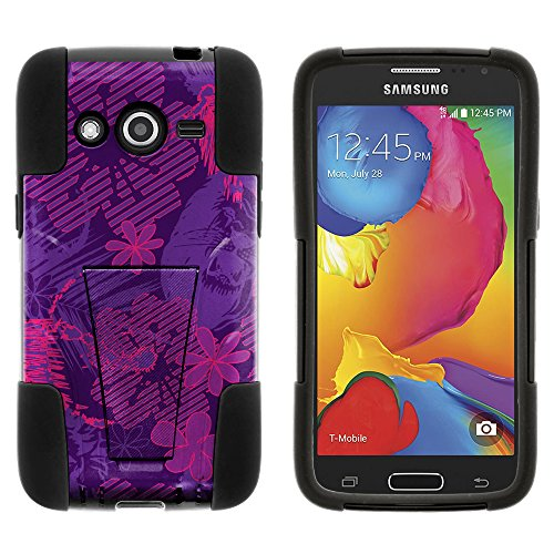 Samsung Galaxy Avant Case, All-Around Barrier STRIKE Impact Built In Kickstand Case Speciality Graphic Pattern for Samsung Galaxy Avant SM-G386T (T Mobile, MetroPCS) from MINITURTLE | Includes Clear Screen Protector and Stylus Pen - Purple Lions Roar