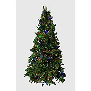 Mr. Light 7.5 Ft. Pre-Lit Artificial Tree - 500 Dual Color LEDs, Red Berries, Pine Cones, Mixed PVC Pine. 53
