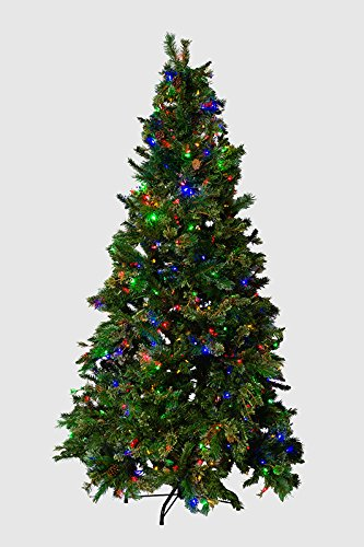 (Mr. Light 7.5 Ft. Pre-Lit Artificial Tree - 500 Dual Color LEDs, Red Berries, Pine Cones, Mixed PVC Pine. )