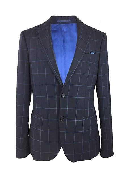 search for original large discount super popular Kurt Geiger Mens Navy Slim Fit Wool Check Blazer: Amazon.co ...