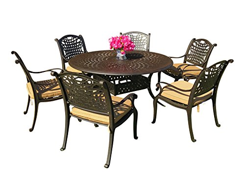 "Everhome Designs - Malibu 7-Piece 60"" Round Cast Aluminum Patio Dining Set with Premium Sunbrella Cushions (6 Stationary Chairs)"