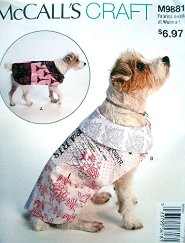 """McCalls Craft Pattern 9881 Dog Coats XS-XL Sizes: 8-26"""""""
